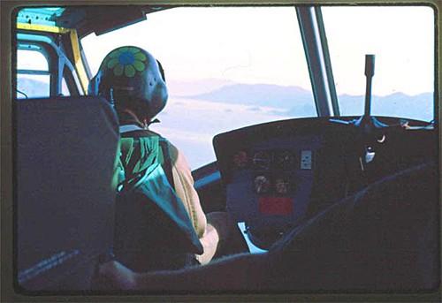 1970: helicopter cockpit, flower sticker