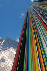 The colourful way (stevec77) Tags: windows sculpture paris france building tower clouds reflections d50 colorful colours bluesky ladefense nikond50 reflected colourful ladfense interestingness67 i500 cheminedaration raymondmoretti chemineedaeration clubwhitecityjune2008exhibition bbcopenlab