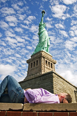Checking her out (Bashed) Tags: new york usa newyork up tag3 taggedout lady america d50 liberty us nikon tag2 tag1 looking manhattan steve myfav snooze northamerica statueofliberty