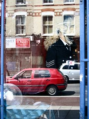 Laughing policeman ([fakey]) Tags: reflection london window lewisham shopwindow guessed guesswherelondon newcross se14 fakey newcrossroad guessedbypushermadness