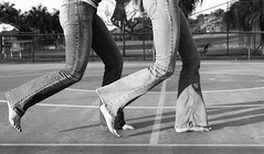 On the Run (R. Motti) Tags: girls blackandwhite bw feet fun football bare soccer running jeans barefoot itu motti techtata04a ricardomotti