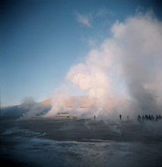 take me somewhere nice (George Pollard) Tags: chile winter cold 120 clouds mediumformat square dawn holga lowlight honeymoon desert smoke august 2006 steam atacama wintersun cfn fumaroles tatiogeysers whataplace 180806 takemesomewherenice