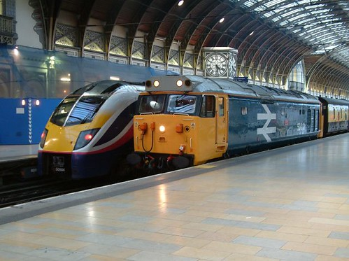 Train Chartering - Locomotive (Class 50) of a train for BBC filming at London's Paddington Station (UK)