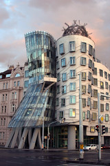 Atomic (MykReeve) Tags: street windows roof sunset sky cloud building window architecture clouds prague praha dome czechrepublic frankgehry frankogehry dancingbuilding eskrepublika fredandgingerbuilding tancdm