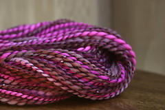 Gooseberry Pie (TheBon) Tags: pink brown black beads shiny soft purple fluffy yarn sparkly handspun colorfulweek
