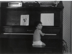 Fiddler on the Piano (Mixxie Sixty Seven) Tags: baby toddler piano diaper stereo sixties fiddlerontheroof uprightpiano vintage1968