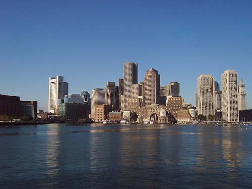 Boston skyline from the Atlantic Ocean