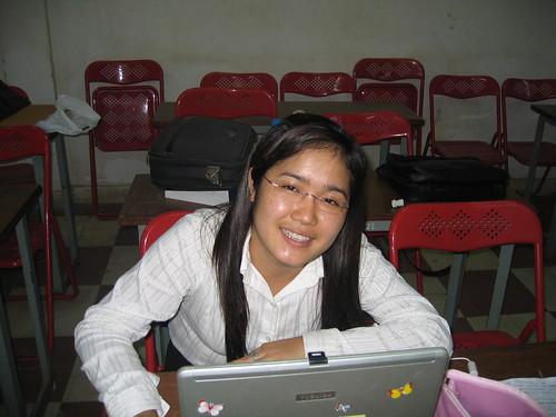 Keo Kalyan in her classroom