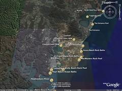 Sites of ocean baths on the NSW Central Coast, Australia (NSW ocean baths) Tags: coast satellite australia pools baths nsw centralcoast googleearth swimmingpools seabaths oceanbaths seapools saltwaterpools seawaterpools