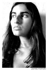 Pamela Machado (Pamela Machado) Tags: portrait bw woman white black girl face branco mouth retrato feminine mulher longhair pb preto sensual e attractive pout guria garota pamela menina rosto machado