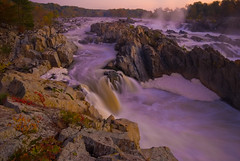 (Justin Berman Photography) Tags: longexposure pink blur color water rock dawn waterfall smooth greatfallsnationalpark nikond200 75points sigmaf4561020mm