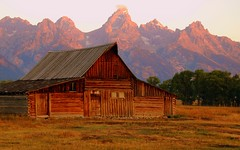 Pink in the Morning (Jeff Clow) Tags: mountains landscape explore wyoming grandtetons specnature moultonbarn abigfave