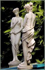 reflectiveness (vernon.hyde) Tags: statue gardenstatue reflection mirror drapednudestatue femalegardenstatue gardenstatuary gardenmirror