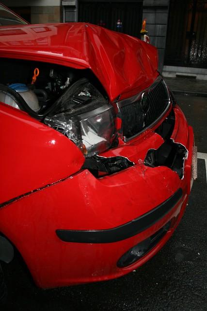 red car buick crash accident front bumper rainier skoda fabia