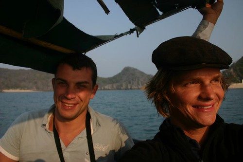 Søren and I in the little ramshackle boat that took us to the Monkey Island...