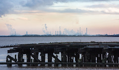 Sorrow (SydPix) Tags: hull humber alexandradock killingholme oilrefinery ruin derelict jetty timber wood rotten estuary river pollution steam vapour silhouette decay sydyoung sydpix