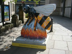 Manchester Bee. --  Bee of Hope = GONE NOW (rossendale2016) Tags: suicide bomb murdered murder atrocity victims bombing arena sellong sold donation trail tourist destination holiday artist clever fibre glass painted shiny icon walkway walk cathedral artistic colourful colorful color colour photogenic picturesque interesting iconic iconn september july sale charity large lancashire centre city art stret manchester music chethams hope bee