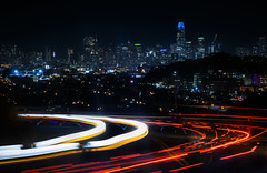 auto and bike traffic intertwined (pbo31) Tags: sanfrancisco california city nikon d810 color night urban black august 2018 summer boury pbo31 lightstream traffic roadway motion salesforce skyline bernalheights over view bike social ride trail group red