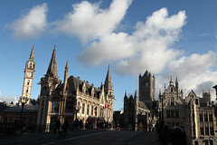 Ghent (Elios.k) Tags: horizontal outdoors people many group tourists tourism pedestrians bridge sintmichielbrug buildings architecture historicalcentre medieval gothic style scheldtgothic oldpostoffice saintnicholas sintniklaaskerk church belfry tower steeple saintbavo sintbaafskathedraal sintbaaf cathedral stone walls sky clouds cloudy bluesky weather colour color travel travelling november2017 canon 5dmkii photography ghent gent belgium belgique flanders flemishregion europe