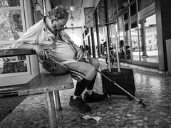 Till tomorrow comes, he'll dream of yesterday. (Markus Binzegger) Tags: blackandwhite blacknwhite blackwhite bnwstreet bwstreet decisivemoment magnumphotos monochrome photography photostreet street streetbnw streetphotographer streetphotography streetbw streetphotobnw streetphotobw streetphotographybw streetphotographers streetphotos streetscene streetshot topbnw olympus omd em10 sleep sleeping locarno ticino tessin