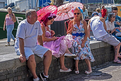 just sitting around (Mark Rigler -) Tags: vintage day poole quay dorset england people fun happy street crowd pretty