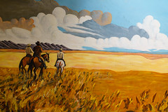 Seldom was heard (Aaron Stidwell) Tags: cowboy cowboyhat existinglight f4 horses iso125 loxia235 mural naturallight painting ranch range sanantonio texas zeiss
