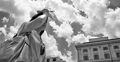 The sky's the limit. (Baz 120) Tags: candid candidstreet candidportrait city candidface candidphotography contrast street streetphoto streetphotography streetcandid streetportrait sony a7 rome roma europe women monochrome monotone mono noiretblanc bw blackandwhite urban life primelens portrait people pentax20mm28 italy italia girl grittystreetphotography faces decisivemoment strangers