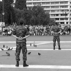 athens (gerben more) Tags: military soldier guard tourist touristattraction blackwhite monochrome two people men back athene athens greece