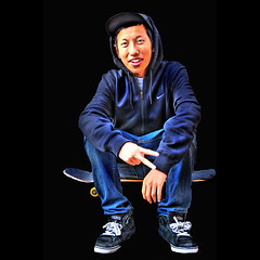 Alex .... (daystar297) Tags: streetportrait portrait teen teenager skater skateboard peace chinese asian nikon