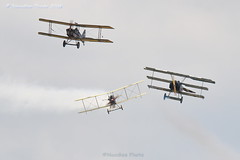Dogfight simulation -Luftkampfsimulation (Great War Display Team) (Noodles Photo) Tags: fokkerdr1 gcfhy triplane royalaircraftfactoryse5a se5a biplane gbuod royalaircraftfactorybe2c be2c gawyi dogfight luftkampf greatwardisplayteam worldwari wwi ww1 greatwar replica historicaviation historicairplanes airshow airplanes airdisplay farnboroughinternationalairshow2018 farnborough farnboroughinternationalairshow hampshire england greatbritain unitedkingdom canoneos7dmarkii tamronsp150600mmf563divcusdg2 plane farnboroughairfield