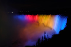 Niagara Falls Illuminated (ildikoannable) Tags: lights colour rainbow illumination niagarafalls fujix100t candada