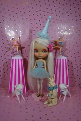 Taffy goes to the circus! (Primrose Princess) Tags: customblythe ooakblythe takara blythe doll custom ladeedollyreroot lilitix karolinefelix circus vintage ballerina pink blue bunny sheep alpacareroot tutu dollydreamland primroseprincess