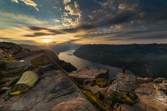 A Room with a View (Tore Thiis Fjeld) Tags: norway nature preikestolen prekestolen preacherspulpit pulpitrock outdoors mountains fjord camp tent view sunrise lysefjorden samyang 14mm nikon d800 morningglow cliff hight campsite