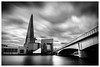 The Shard... (mariolka3) Tags: londonbridge nd walkaround modernarchitecture architecture view greatbritain uk building nikkor2470 nikon monochrome bw dailywalk thames river water bridge longexposure dynamic movements motion clouds skyscraper shard city lonfon