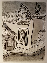 A house.  A house with interesting roof attachment. South street Totnes. (jeffhill6) Tags: totnes abstractart drawing peninkandgraphite house architecture art blackandwhite linedrawing
