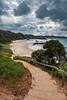 Nobby Beach (Claude Downunder) Tags: portmacquarie nsw australia nobbybeach beach water sky storm clouds path stairs sand pacificocean pacific handrail grass trees dogbeach