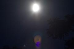 The Moon, Jupiter, and Jupiter's Moons (brucetopher) Tags: moon gibbous waxing wax skies sky night nightsky celestial dark darkness lunar jupiter planet shine earthshine planetary astronomy astrophotography moonsofjupiter moons calisto io europa ganymede light bright star stars heavens dome darknes nightshoot