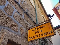 Restaurant Adega Dos Caquinhos (ShambLady) Tags: viela da arrouchela adeaga dos caquinhos minho guimaraes lunch dinner food yummy yellow sign amarillo narrow rua arrochela s paio