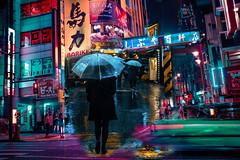 Japan street night (https://tinyurl.com/jsebouvi) Tags: street umbrella rain green japan color art double exposure rue passage pluie parapluie homme promenade passant jsebouvi top net vert rose jaune néon affiche lettres meilleur nouveau doubleexposition