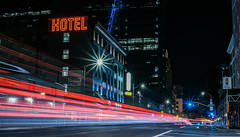 good hotel (pbo31) Tags: sanfrancisco california nikon d810 color city urban august 2018 summer boury pbo31 night dark black traffic lightstream roadway motion neon hotel 7th soma infinity street sign