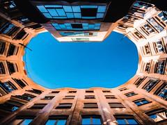 Casa Mila, looking up (lindsipindsi_) Tags: modern spain barcelona architecture casamila gaudi