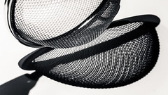 Feeling the strain (grbush) Tags: macromonday macromondays mesh sieve teastrainer blackwhite bw monochrome shadow highkey sonyilce7 tamronaf90f28disp closeup metal