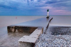 Port Bruce pier at sunset (Rick Heffren) Tags: summer ef1585isusm t5i canon longexposure 30 nd lighthouse pier sunset pink lakeerie ontario portbruce