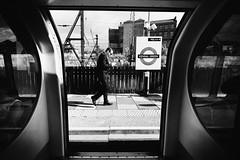 IMG_0842 (JetBlakInk) Tags: men mono signage subject2ground transport londonunderground londontransport tube tubetrain londonundergroundstation businessman kensalgreen mindthegap
