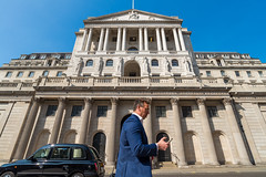 AFS-2017-00834 (Alex Segre) Tags: bankofengland exterior outside iconic famous landmark landmarks facade building buildings architecture man men male males adult adults person people walking texting using mobilephone cellphone capital city cities london england britain uk english british europe european sunny sunshine bluesky travel in a alexsegre
