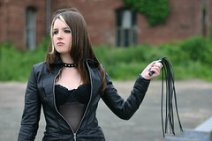 Diana 28 (The Booted Cat) Tags: sexy teen model girl leather coat dominatrix whip gothic