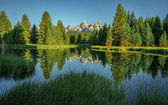 Tetons Morning - Explore 07-21-2018 (Jeff Rowton) Tags: sunrise goldenhour grandtetons nationalpark reflection symmetry mountains cloudlesssky clear