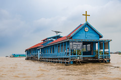 Chong Khnies (or Khneas) Catholic Church, Tonle Sap, Cambodia (DavidGabis) Tags: poverty viet floating exotic church siemreap water lake typical catholic blue thingstodiscover architecture boat cambodia village faith god wood asian wanderer thingstodo vietnamese kids wooden traditional people asia activity building rural nautical children religion culture travel tonlesap poor khmer adventure river communities house float tour destination school tourism tropical stilllife