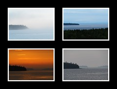 Tobermory 24 hour weather (ildikoannable) Tags: weather sunset fog canadiansummer olympus canada ontario tobermory collage