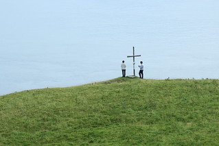 People at Roger Casement Memorial, Murlough Bay, County Antrim, Ireland